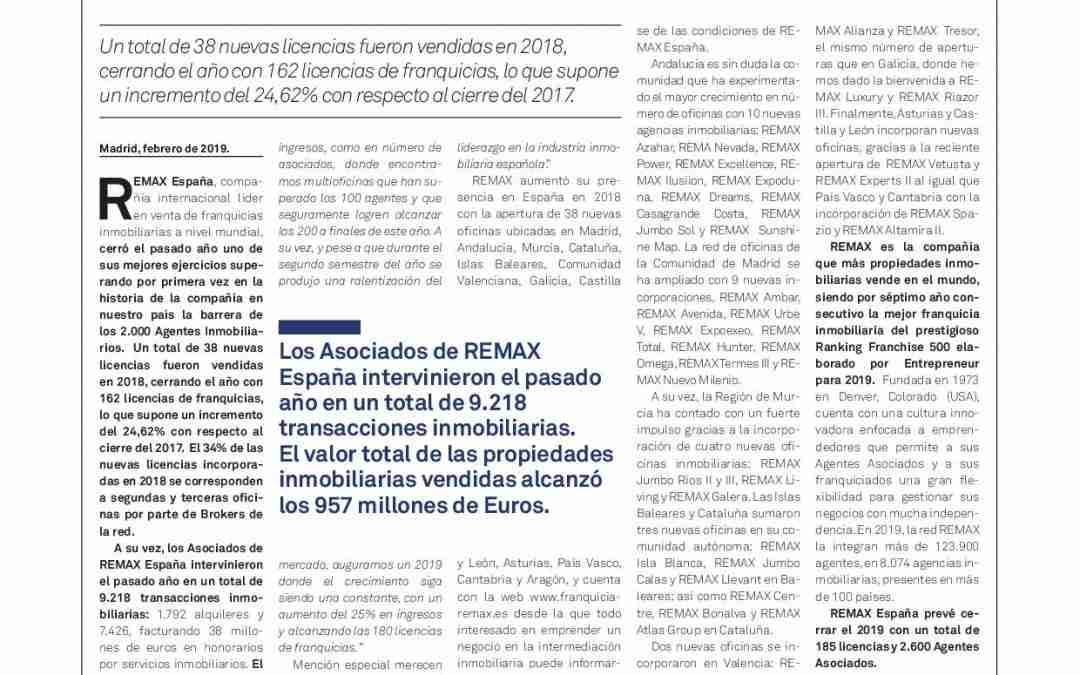 Positivo Balance Franquicia REMAX España año 2018