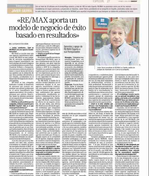 Javier Sierra: REMAX aporta un modelo de negocio de éxito basado en resultados