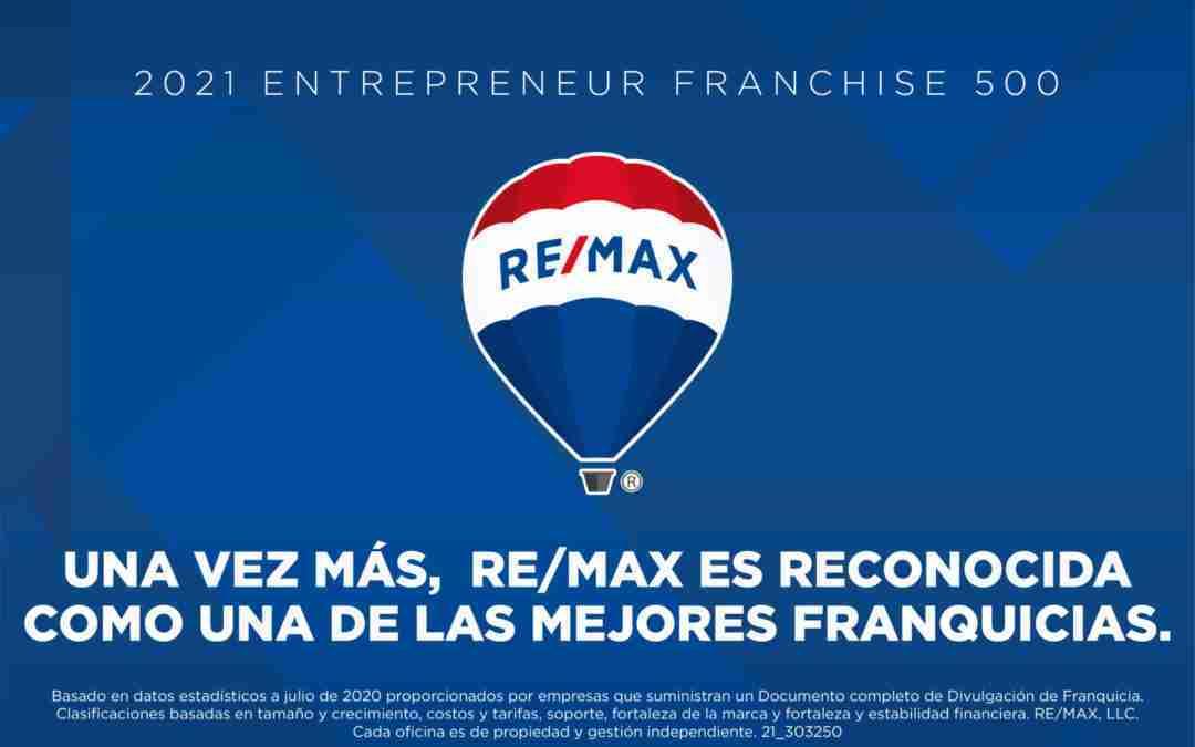 REMAX, reconocida una vez más como una de las mejores franquicias inmobiliarias según el prestigioso ranking Franchise 500